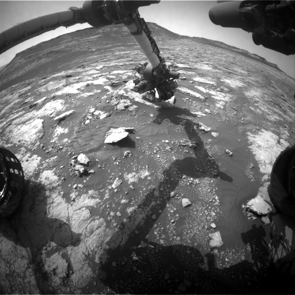 Nasa's Mars rover Curiosity acquired this image using its Front Hazard Avoidance Camera (Front Hazcam) on Sol 2793, at drive 1398, site number 80