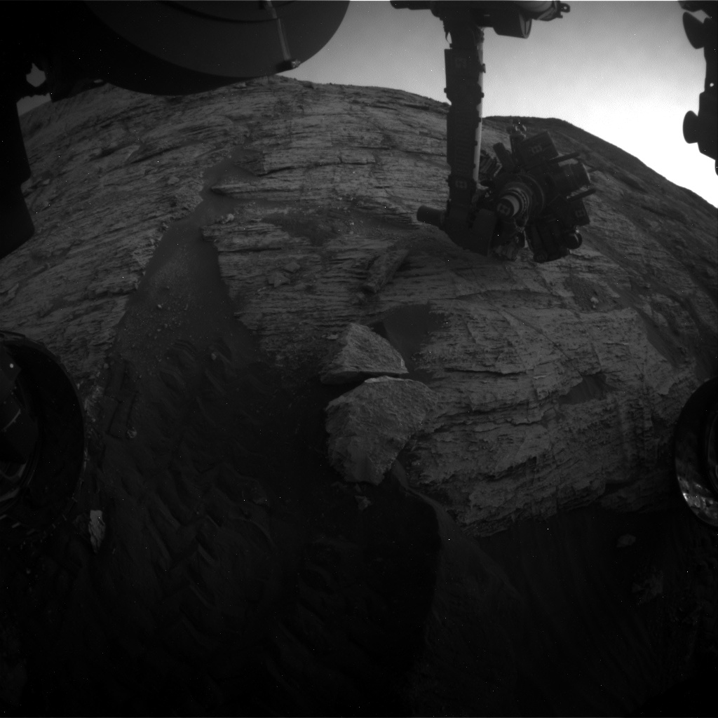 Nasa's Mars rover Curiosity acquired this image using its Front Hazard Avoidance Camera (Front Hazcam) on Sol 2801, at drive 0, site number 81