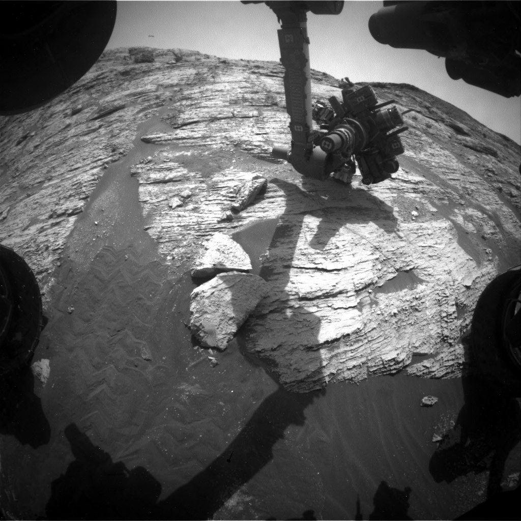 Nasa's Mars rover Curiosity acquired this image using its Front Hazard Avoidance Camera (Front Hazcam) on Sol 2802, at drive 0, site number 81