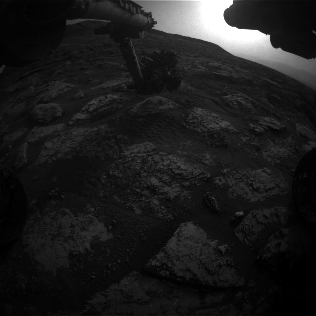 Nasa's Mars rover Curiosity acquired this image using its Front Hazard Avoidance Camera (Front Hazcam) on Sol 2803, at drive 424, site number 81