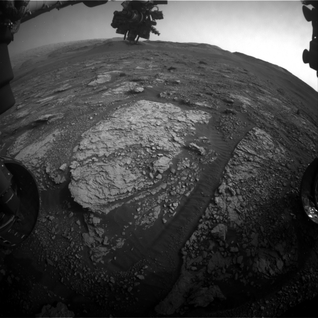 Nasa's Mars rover Curiosity acquired this image using its Front Hazard Avoidance Camera (Front Hazcam) on Sol 2843, at drive 2176, site number 82