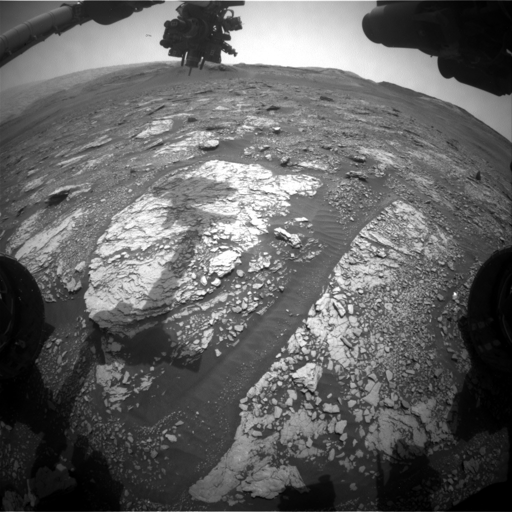 Nasa's Mars rover Curiosity acquired this image using its Front Hazard Avoidance Camera (Front Hazcam) on Sol 2845, at drive 2176, site number 82
