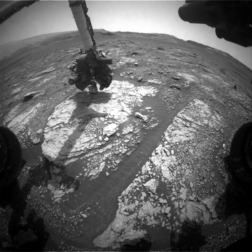 Nasa's Mars rover Curiosity acquired this image using its Front Hazard Avoidance Camera (Front Hazcam) on Sol 2854, at drive 2176, site number 82