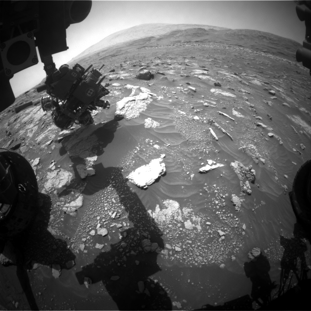Nasa's Mars rover Curiosity acquired this image using its Front Hazard Avoidance Camera (Front Hazcam) on Sol 3013, at drive 1486, site number 85