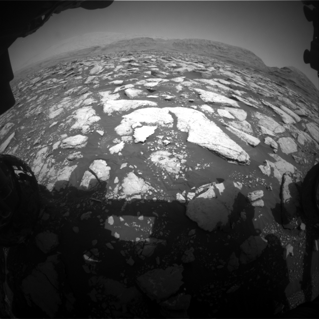 Nasa's Mars rover Curiosity acquired this image using its Front Hazard Avoidance Camera (Front Hazcam) on Sol 3013, at drive 1808, site number 85