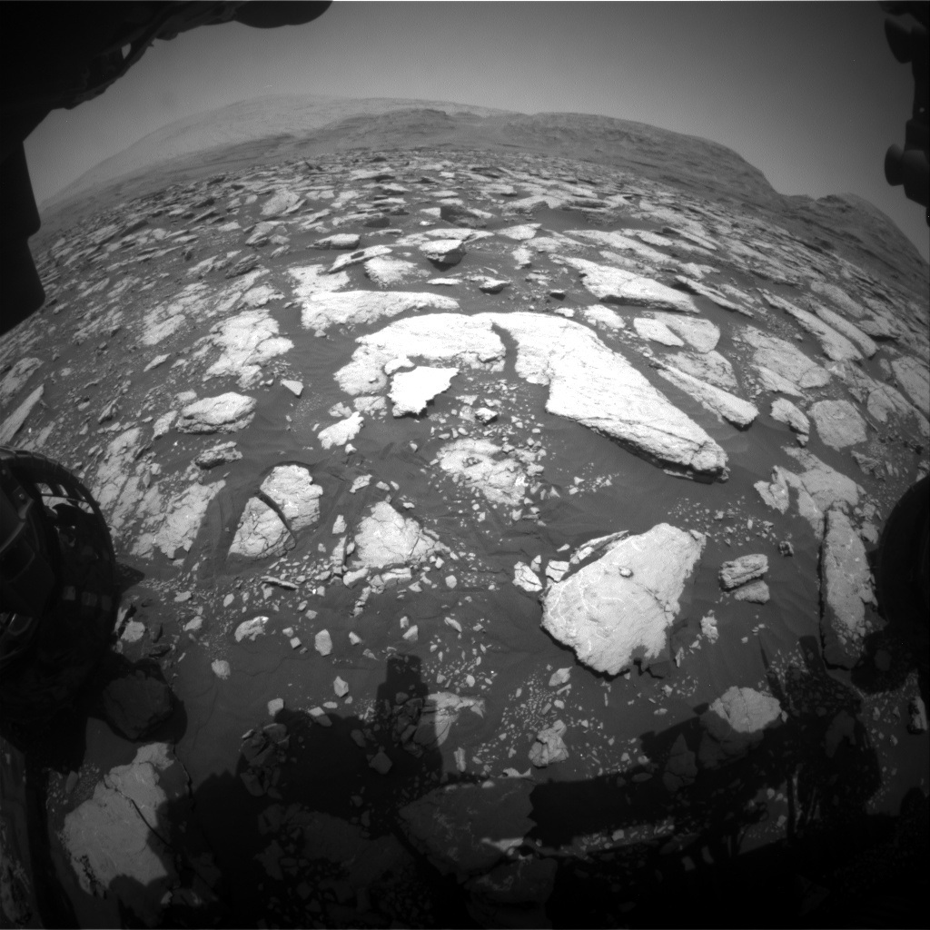 Nasa's Mars rover Curiosity acquired this image using its Front Hazard Avoidance Camera (Front Hazcam) on Sol 3014, at drive 1808, site number 85