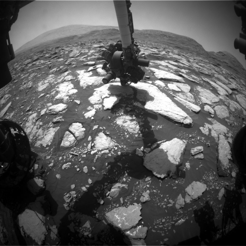 Nasa's Mars rover Curiosity acquired this image using its Front Hazard Avoidance Camera (Front Hazcam) on Sol 3015, at drive 1808, site number 85