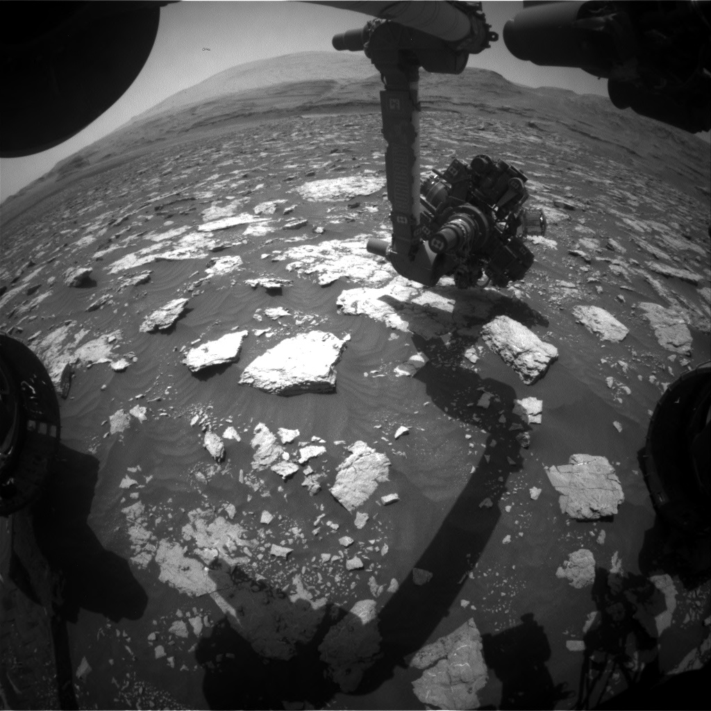 Nasa's Mars rover Curiosity acquired this image using its Front Hazard Avoidance Camera (Front Hazcam) on Sol 3027, at drive 618, site number 86