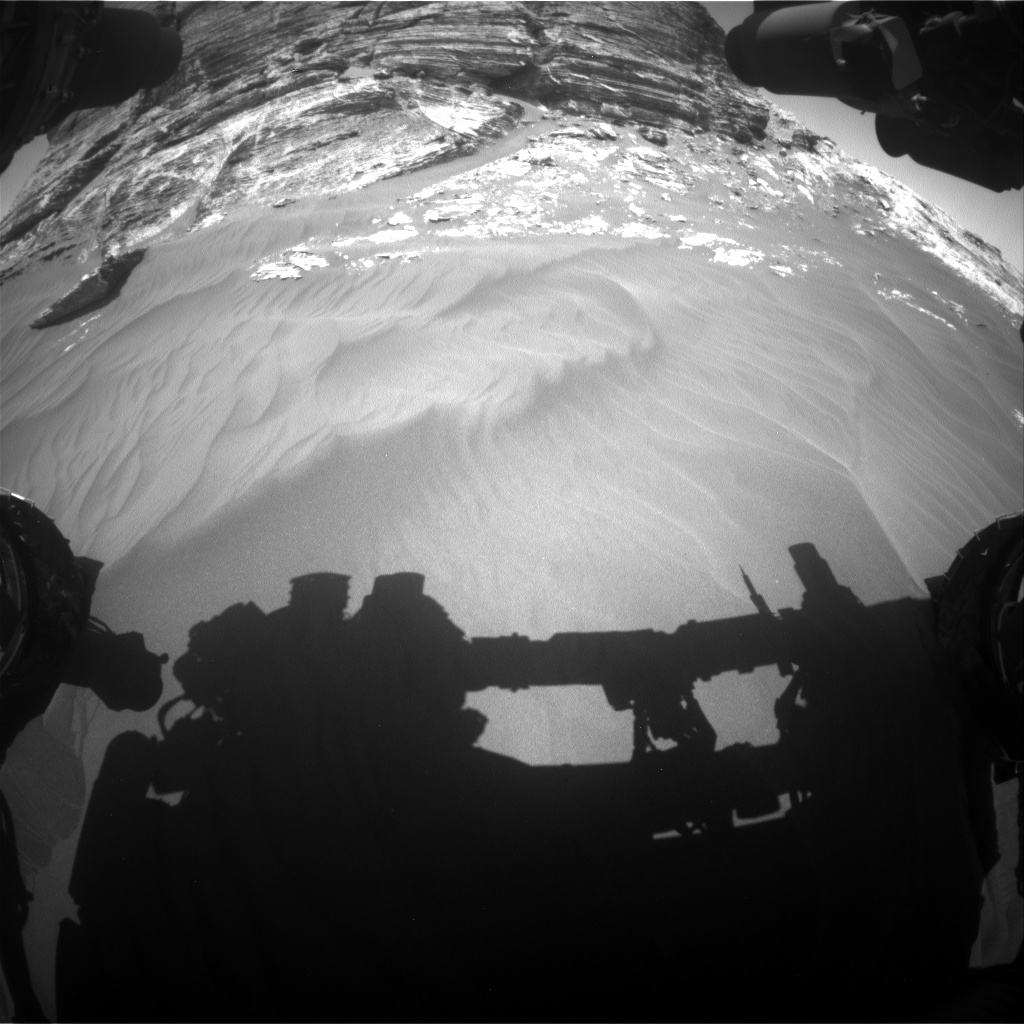 Nasa's Mars rover Curiosity acquired this image using its Front Hazard Avoidance Camera (Front Hazcam) on Sol 3077, at drive 1444, site number 87