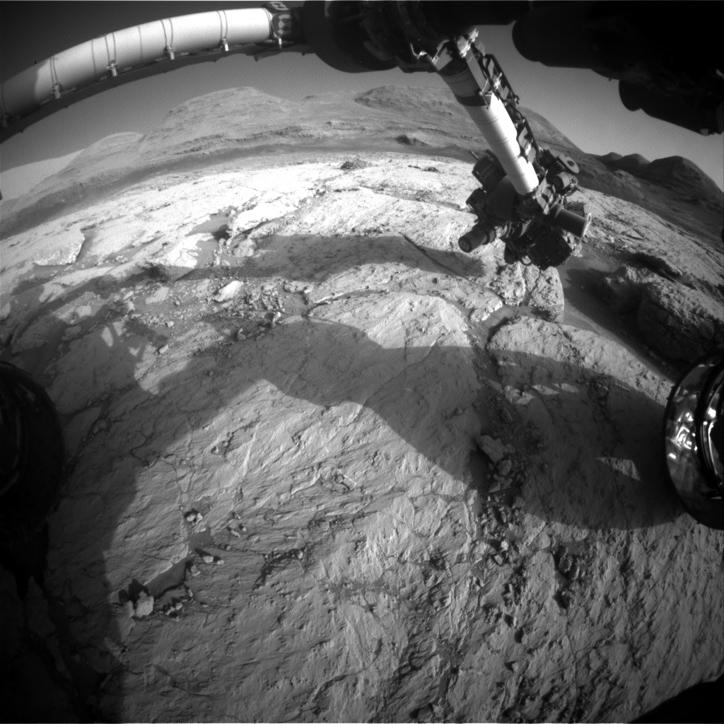 Nasa's Mars rover Curiosity acquired this image using its Front Hazard Avoidance Camera (Front Hazcam) on Sol 3119, at drive 156, site number 88