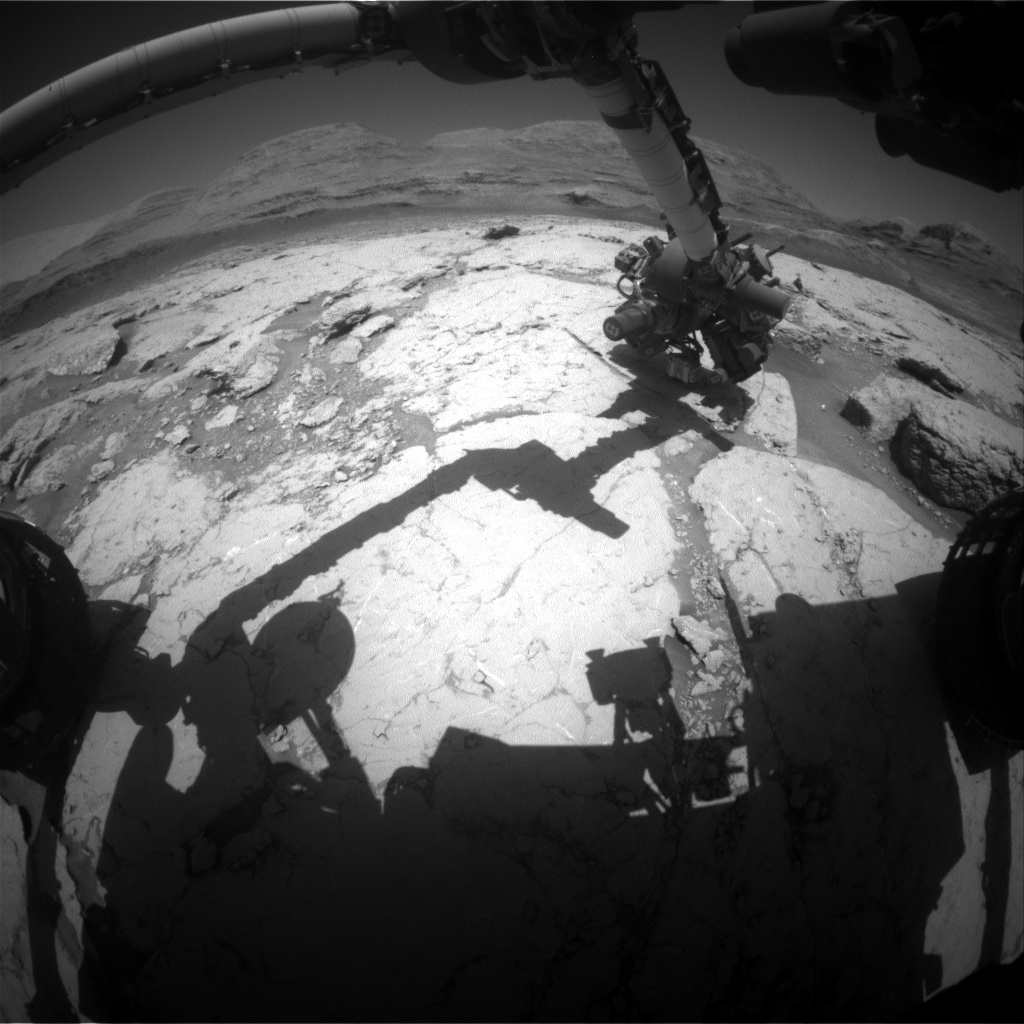 Nasa's Mars rover Curiosity acquired this image using its Front Hazard Avoidance Camera (Front Hazcam) on Sol 3120, at drive 156, site number 88