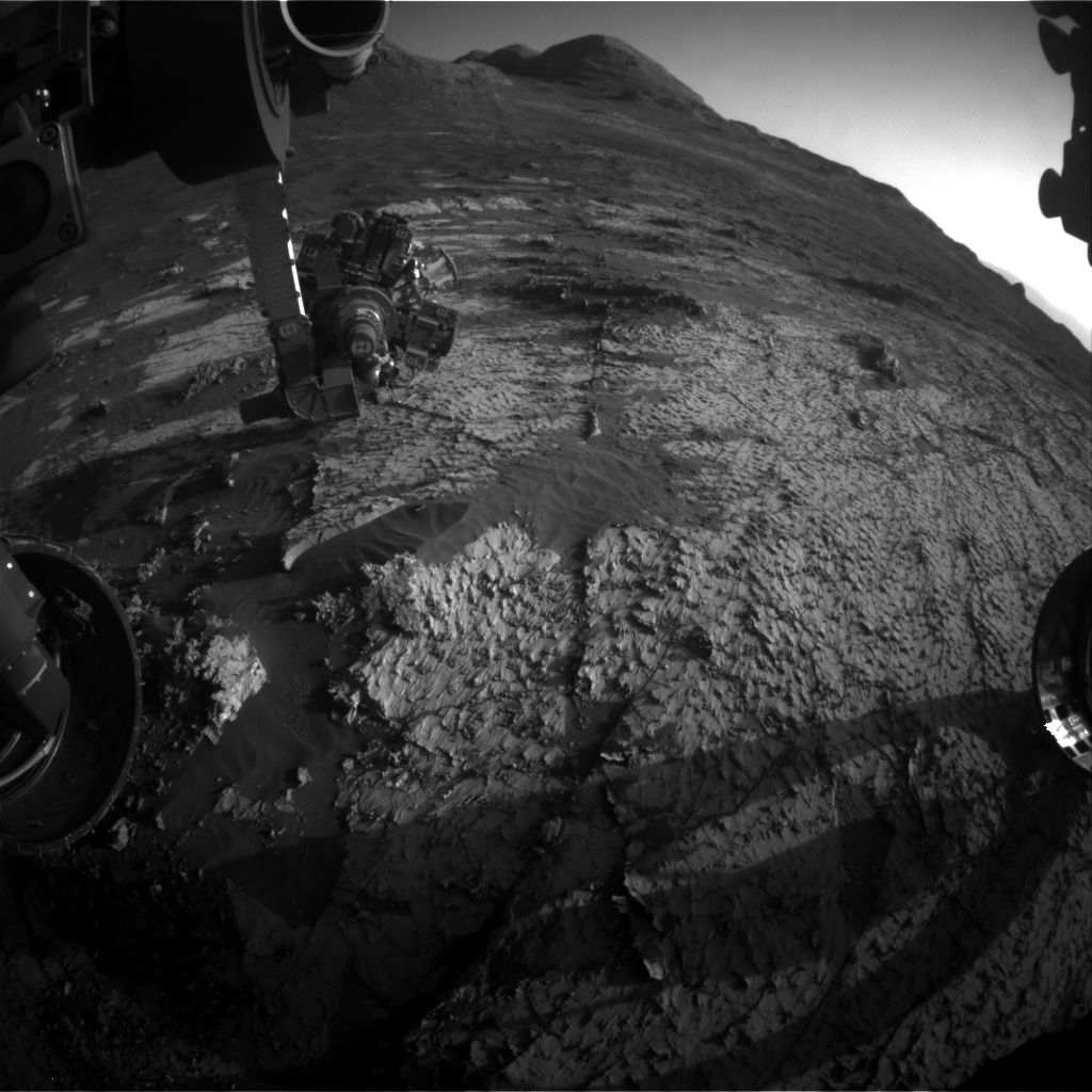 Nasa's Mars rover Curiosity acquired this image using its Front Hazard Avoidance Camera (Front Hazcam) on Sol 3139, at drive 1230, site number 88