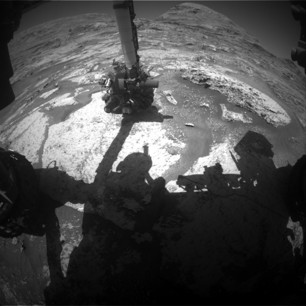 Nasa's Mars rover Curiosity acquired this image using its Front Hazard Avoidance Camera (Front Hazcam) on Sol 3165, at drive 1974, site number 89