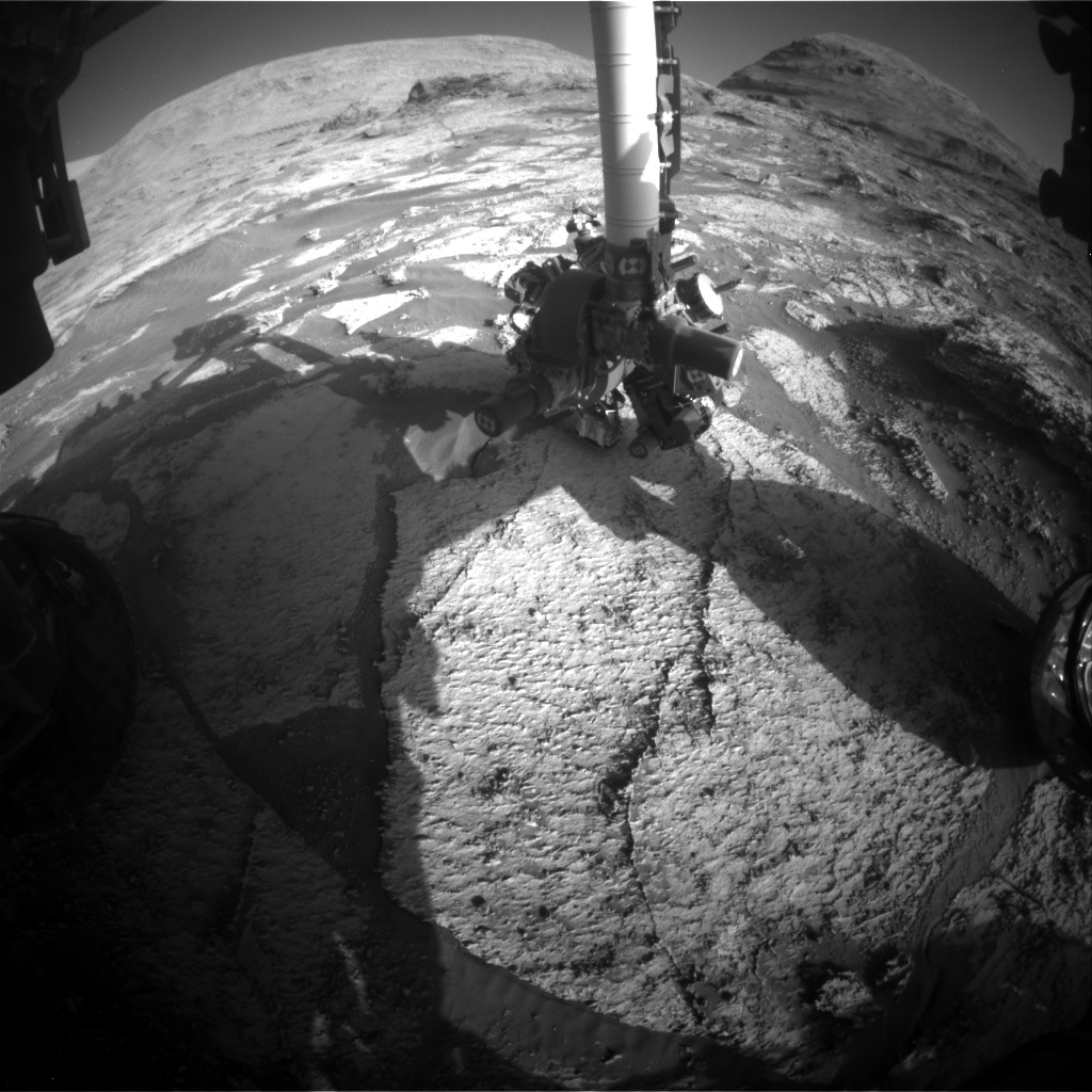 Nasa's Mars rover Curiosity acquired this image using its Front Hazard Avoidance Camera (Front Hazcam) on Sol 3180, at drive 1992, site number 89
