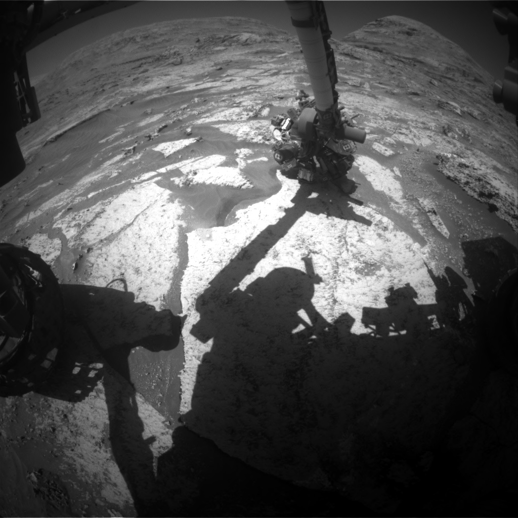 Nasa's Mars rover Curiosity acquired this image using its Front Hazard Avoidance Camera (Front Hazcam) on Sol 3183, at drive 1992, site number 89