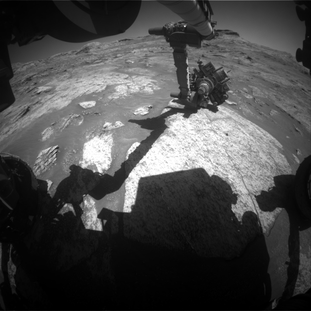 Nasa's Mars rover Curiosity acquired this image using its Front Hazard Avoidance Camera (Front Hazcam) on Sol 3203, at drive 1102, site number 90