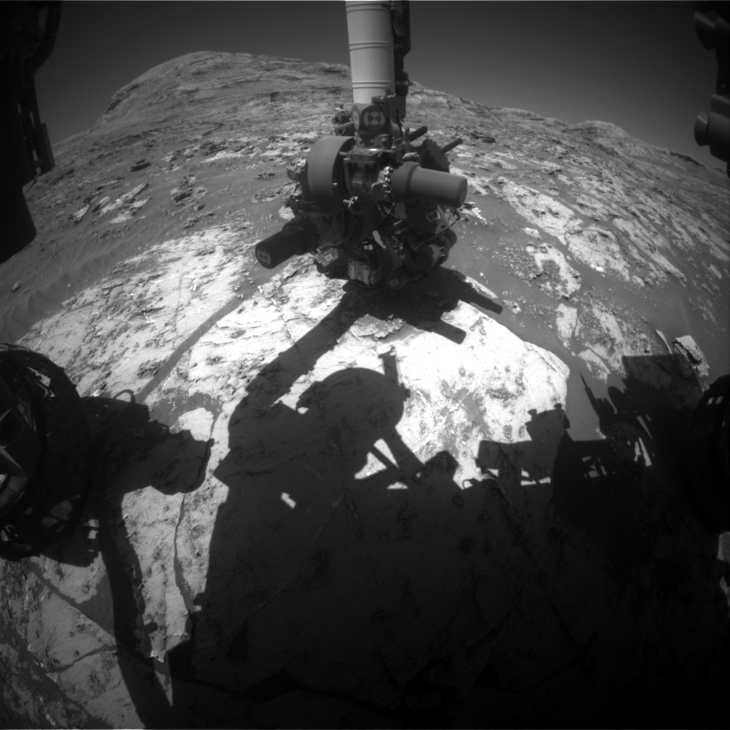 Nasa's Mars rover Curiosity acquired this image using its Front Hazard Avoidance Camera (Front Hazcam) on Sol 3204, at drive 1348, site number 90