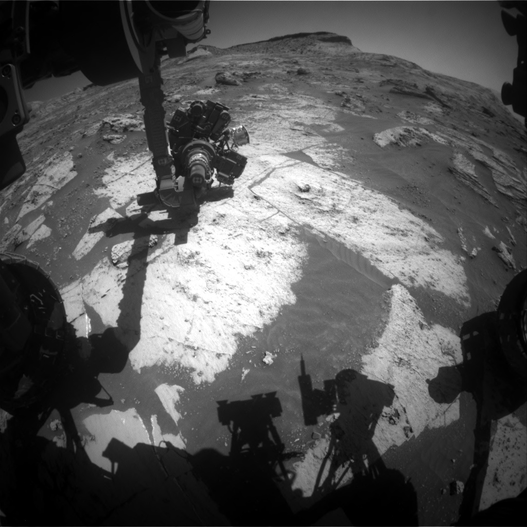 Nasa's Mars rover Curiosity acquired this image using its Front Hazard Avoidance Camera (Front Hazcam) on Sol 3210, at drive 1870, site number 90