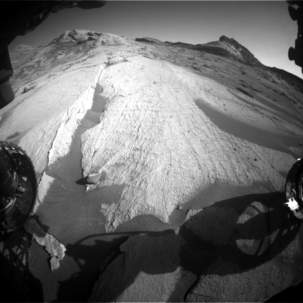 Nasa's Mars rover Curiosity acquired this image using its Front Hazard Avoidance Camera (Front Hazcam) on Sol 3223, at drive 390, site number 91