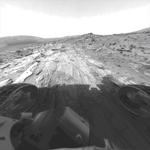 Mars scientists used images from the Mars Exploration Rovers to help them with their recent simulation 'games' for the Mars Science Laboratory rover. This image from the Spirit rover was used by the scientists to decide where to drill in one of the tests.