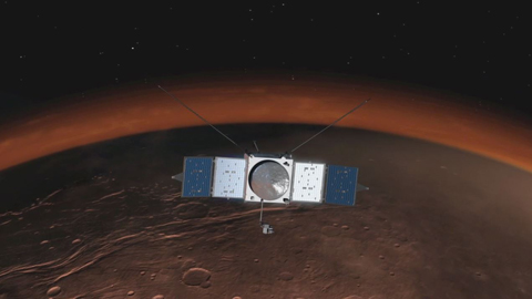 see the image 'Curiosity Welcomes MAVEN to Mars'