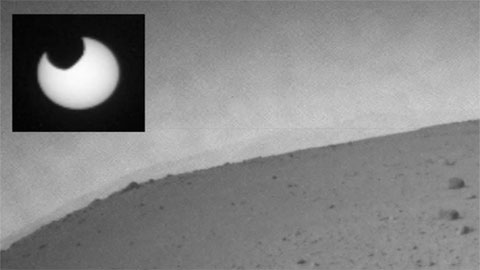 see the image 'Eclipse at Mars Casts Shadow Around Mars Rover Curiosity'