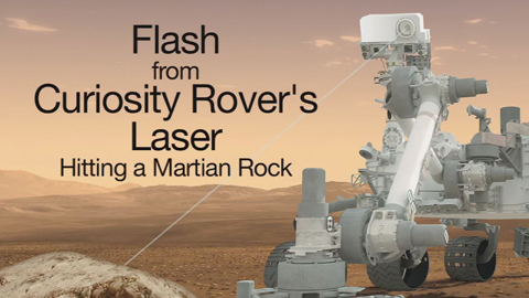 see the image 'Flash from Curiosity Rover's Laser Hitting a Martian Rock'