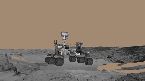 see the image 'Animation of Curiosity Rover's First 'Touch and Go''
