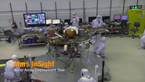 see the image 'NASA's Mars InSight Lander: Solar Array Deployment Test (Time Lapse)'