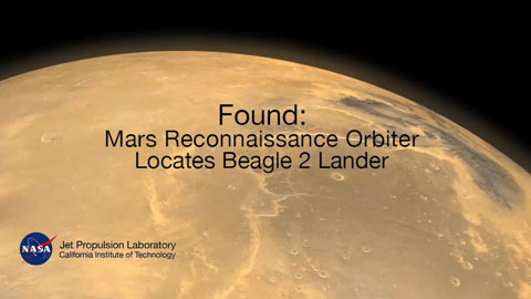 see the image 'Found: Mars Reconnaissance Orbiter Locates Beagle 2 Lander'