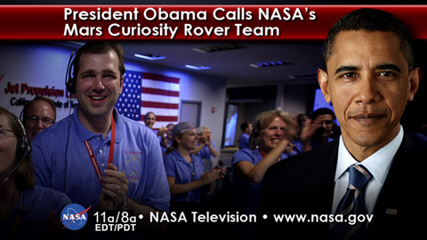 see the image 'President Obama Calls Curiosity Team'