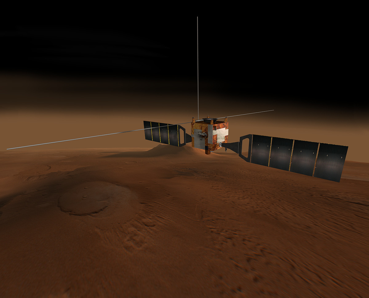 This artist rendering shows the Mars Express spacecraft.