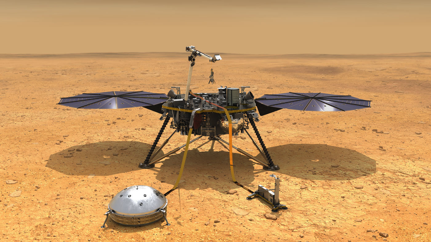 This artist's concept depicts NASA's InSight lander after it has deployed its instruments on the Martian surface.