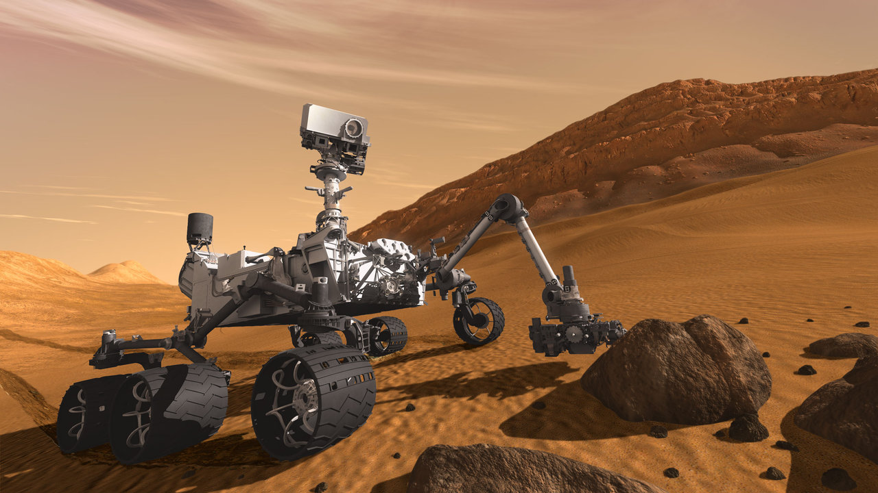 Artist's concept of NASA's Mars Science Laboratory mission, Curiosity rover.