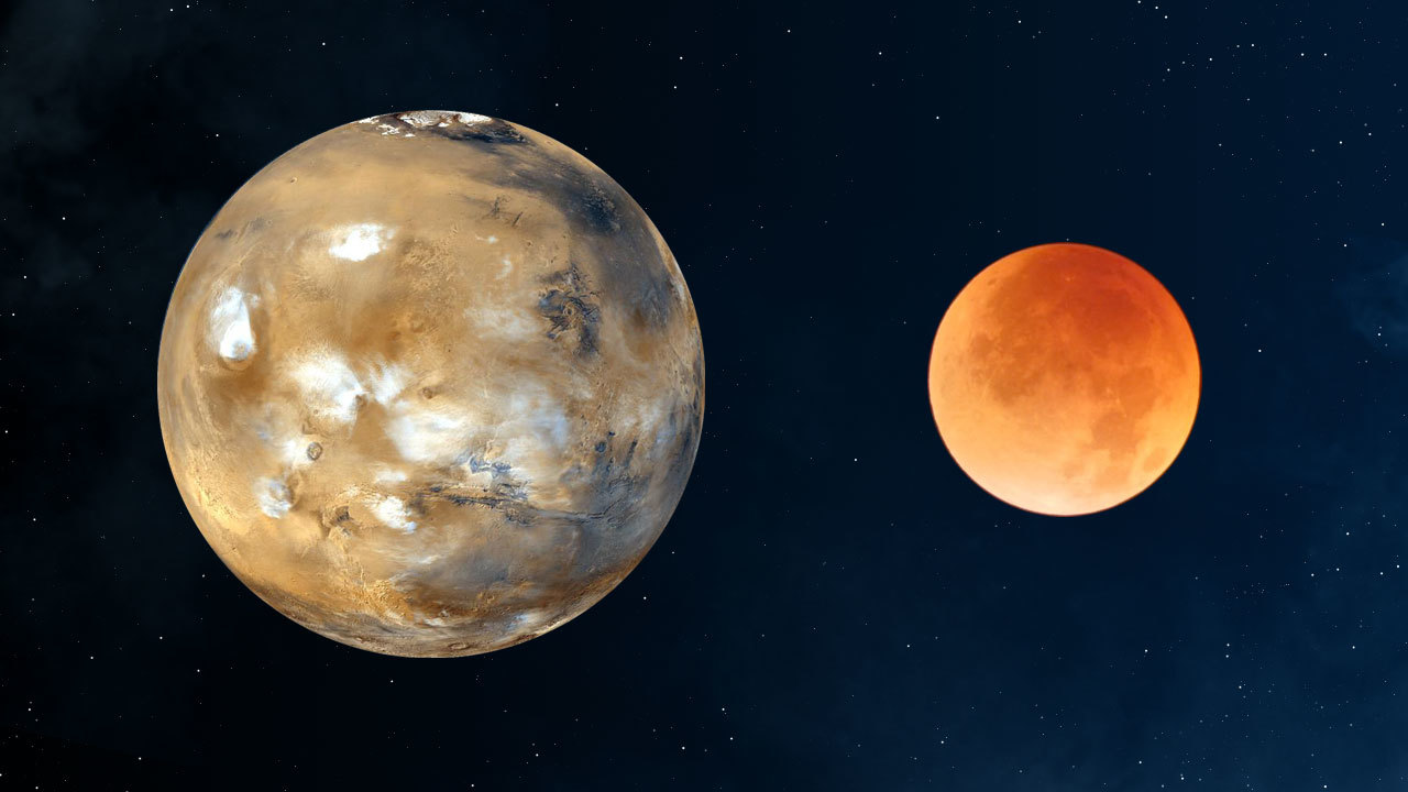 Moon-Mars redness comparison.