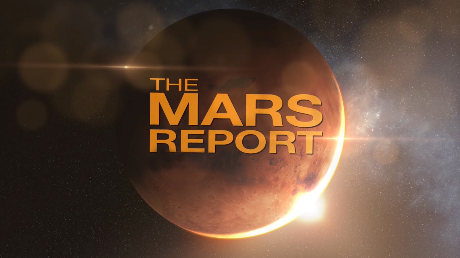 "slide 5 - ""The Mars Report"" over a global view of the plaent"