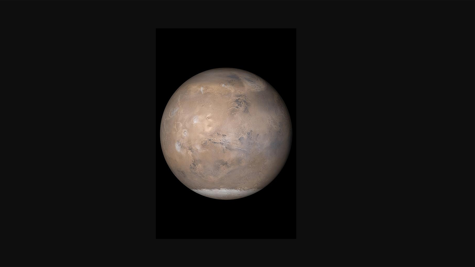 slide 5 - This is an image of Mars, showing the South Pole, where a lake of liquid water may lie beneath the ice.