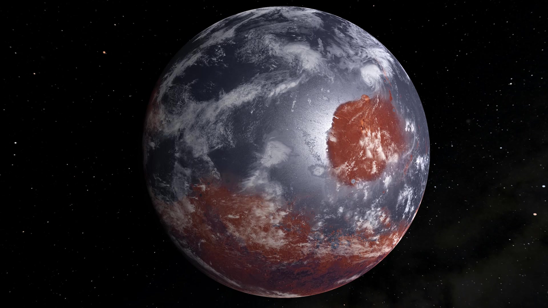 slide 3 - This is an artist's model of an early Mars - billions of years ago - which may have had oceans and a thicker atmosphere. It was created by filling Mars' lower altitudes with water and adding cloud cover.