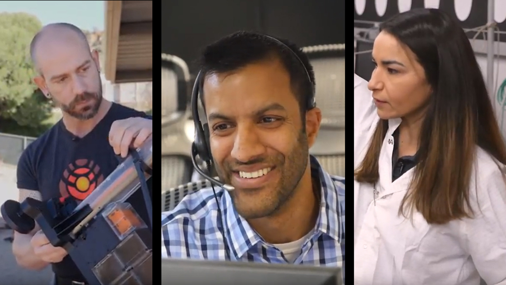 slide 2 - L-R: Troy Hudson, Ravi Prakash and Marleen Sundgaard as they appear in a new video series profiling the scientists and engineers behind NASA's InSight spacecraft.
