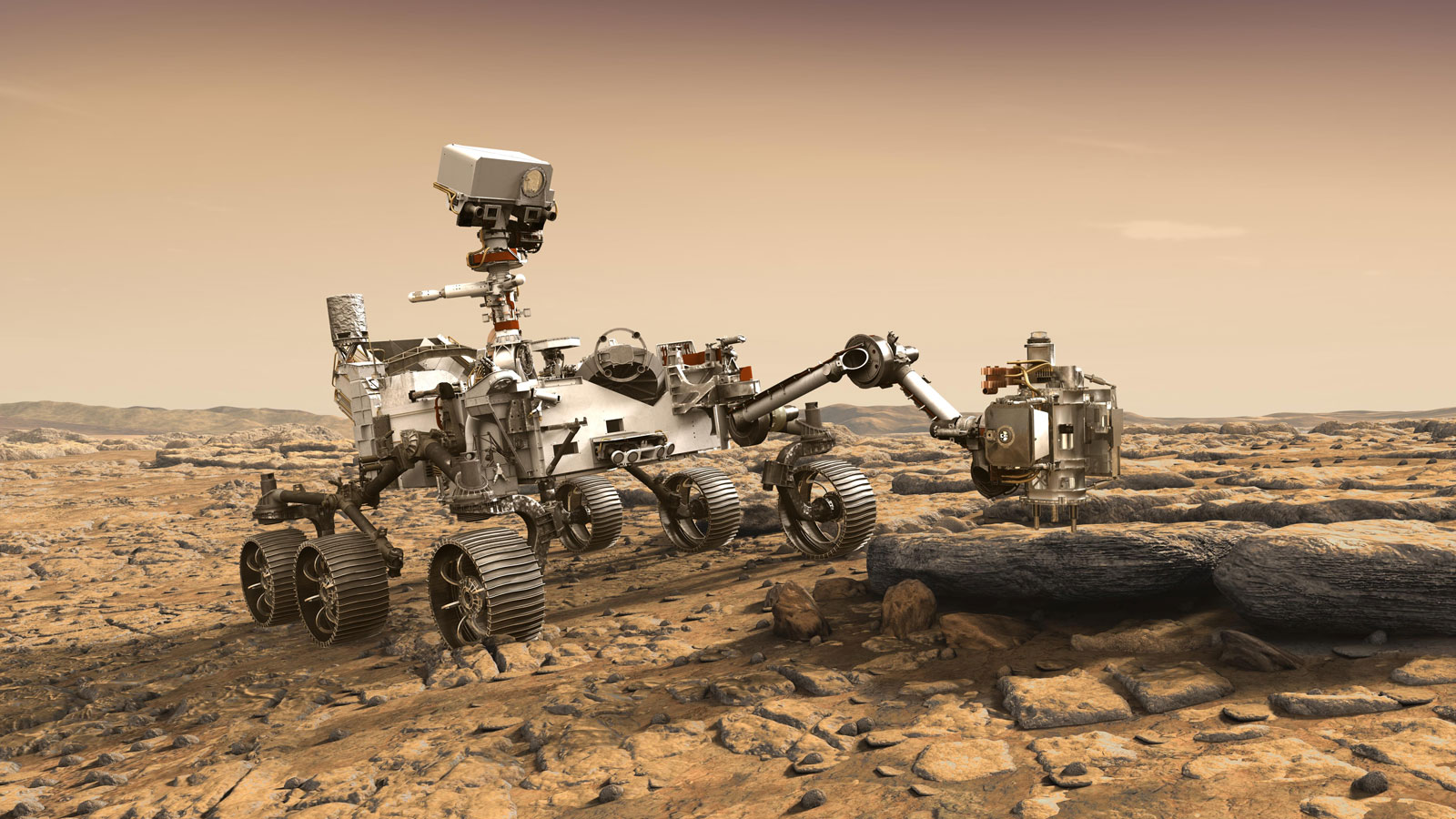 slide 1 - This artist's rendition depicts NASA's Mars 2020 rover studying a Mars rock outrcrop.