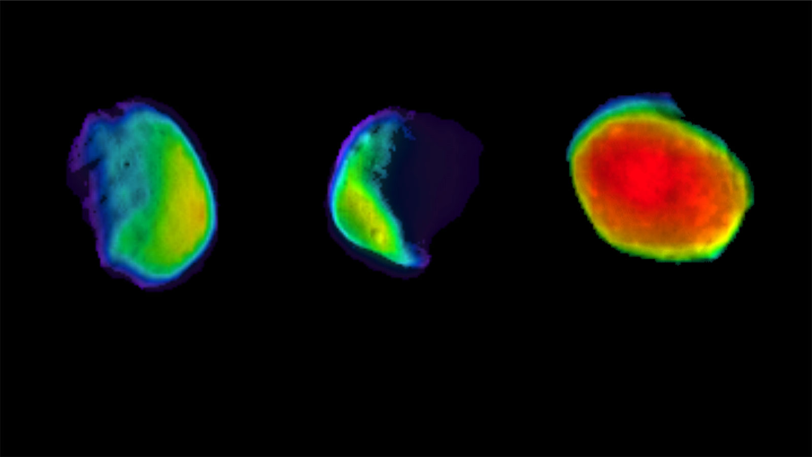 slide 4 - Three different views of the Martian moon Phobos, as seen by NASA's 2001 Mars Odyssey orbiter using its infrared camera.