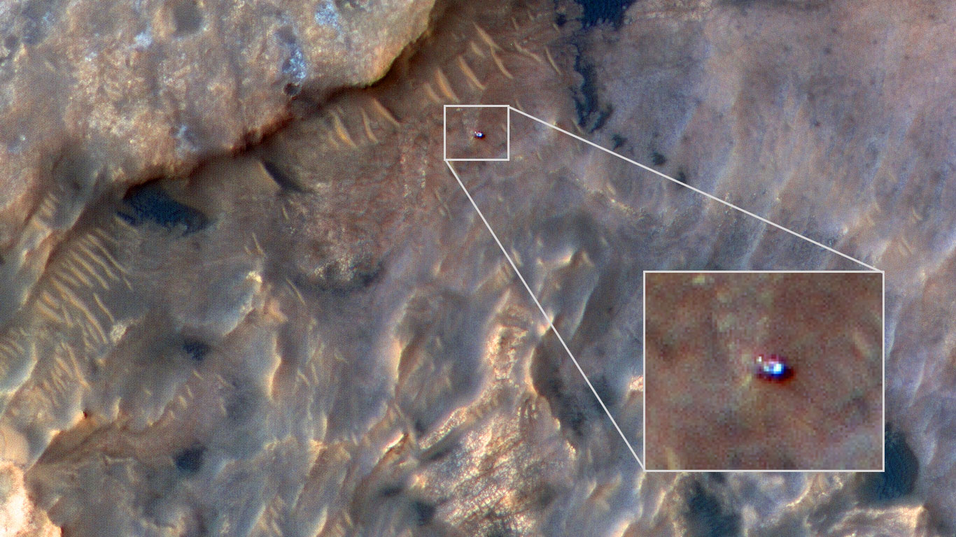 slide 2 - NASA's Curiosity rover seen from space