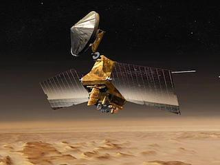 spacecraft high over martian surface