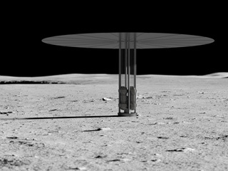 This is an artist's concept of a new fission power system on the lunar surface.