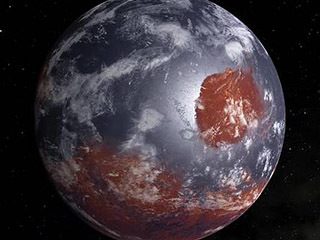 This is an artist's model of an early Mars - billions of years ago - which may have had oceans and a thicker atmosphere. It was created by filling Mars' lower altitudes with water and adding cloud cover.