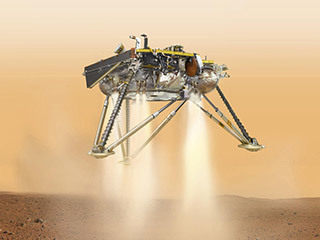 This is an illustration showing a simulated view of NASA's InSight lander about to land on the surface of Mars. This view shows the underside of the spacecraft