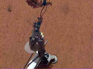 NASA's InSight lander set its heat probe, called the Heat and Physical Properties Package (HP3), on the Martian surface on Feb. 12, 2019.