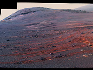 This image is a cropped version of the last 360-degree panorama taken by the Opportunity rover's Panoramic Camera (Pancam) from May 13 through June 10, 2018. The view is presented in false color to make some differences between materials easier to see.