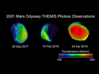 Three views of the Martian moon Phobos were taken by NASA's 2001 Mars Odyssey orbiter.