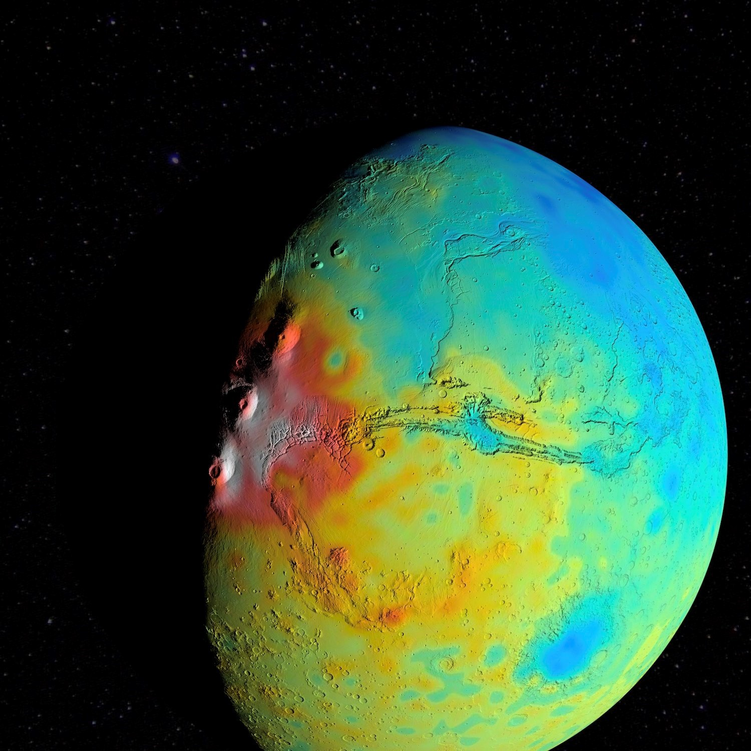 A new map of the thickness of Mars' crust shows less variation between thicker regions (red) and thinner regions (blue), compared to earlier mapping.
